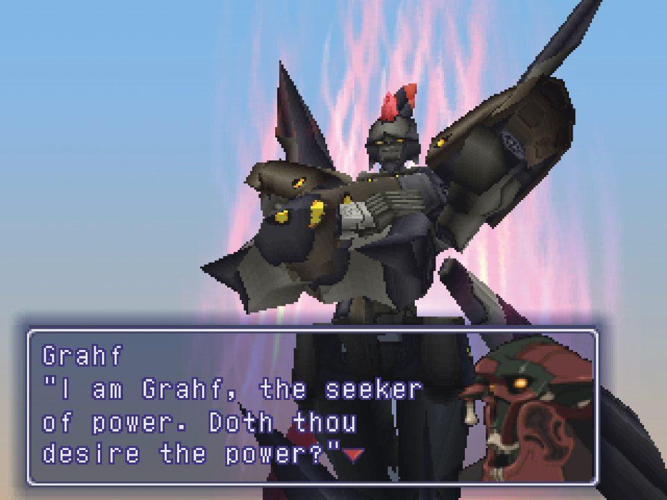 Xenogears Screenshot of Grahf and Alpha Weltall