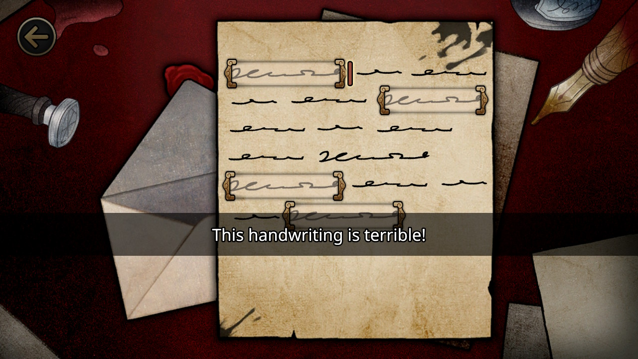 MazM: The Phantom of the Opera screenshot where a poorly written letter is shown.