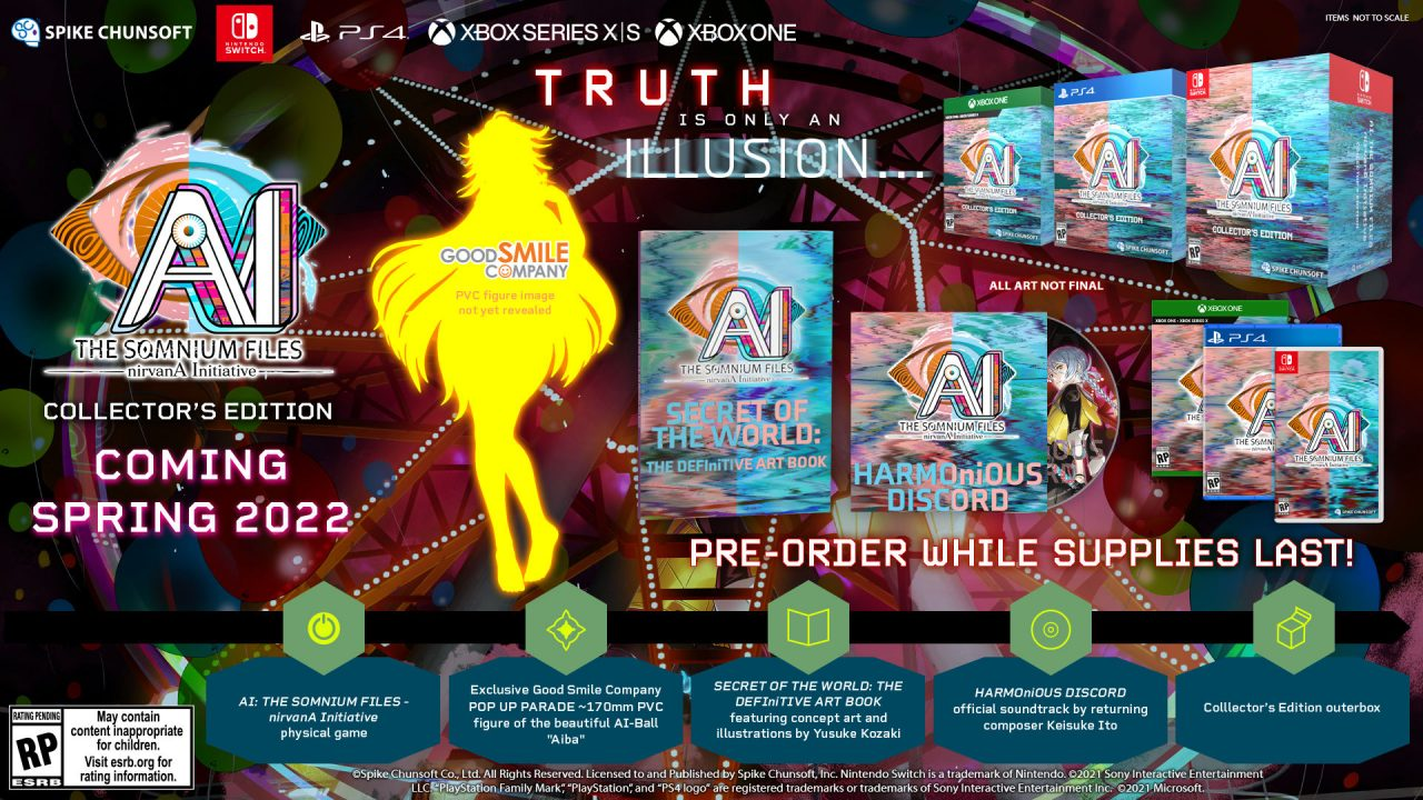 The Collector's Edition packages for AI: The Somnium Files - nirvanA Initiative.
