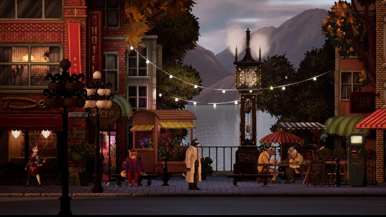 Backbone screenshot of the steam clock in Gastown as the protagonist walks along the street.