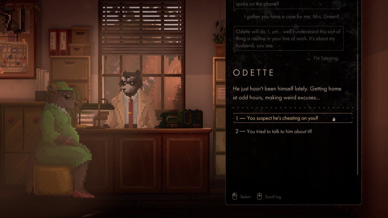 """Backbone screenshot of Howard speaking to his new client, Odette, in his office with dialogue responses to her saying her husband """"hasn't been himself lately""""."""