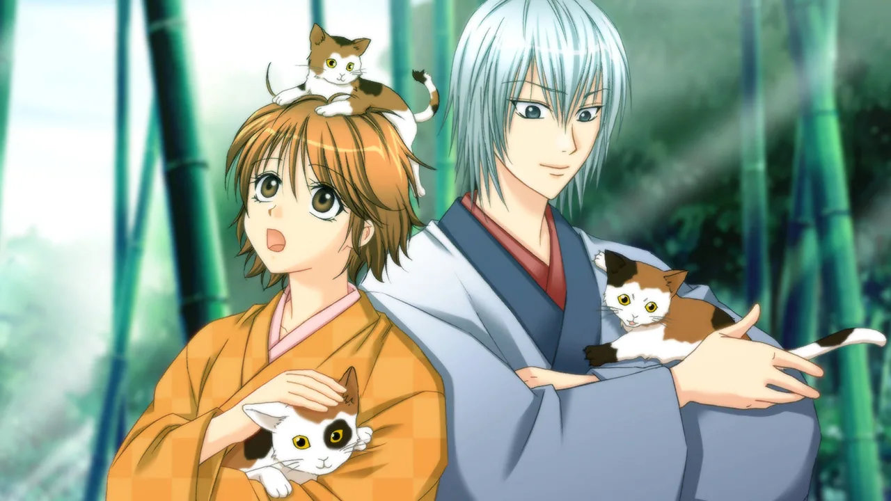 One of the game's CG artworks including the characters with multiple cats in a forest.
