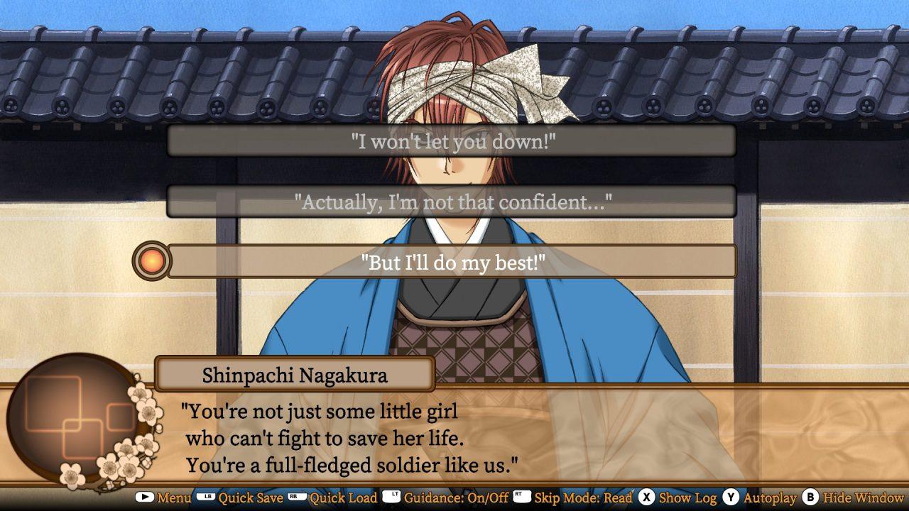 A conversation choice appears in Bakumatsu Renka SHINSENGUMI!