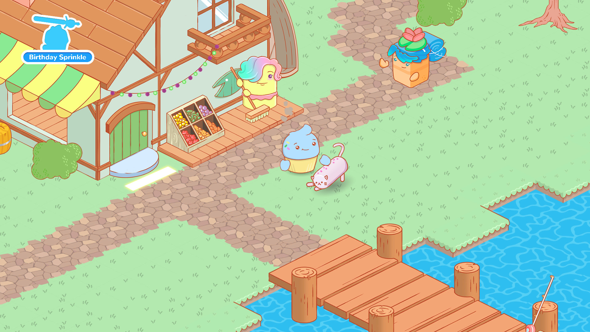 Three cupcake characters approach a dock, cat, and fishing shop.