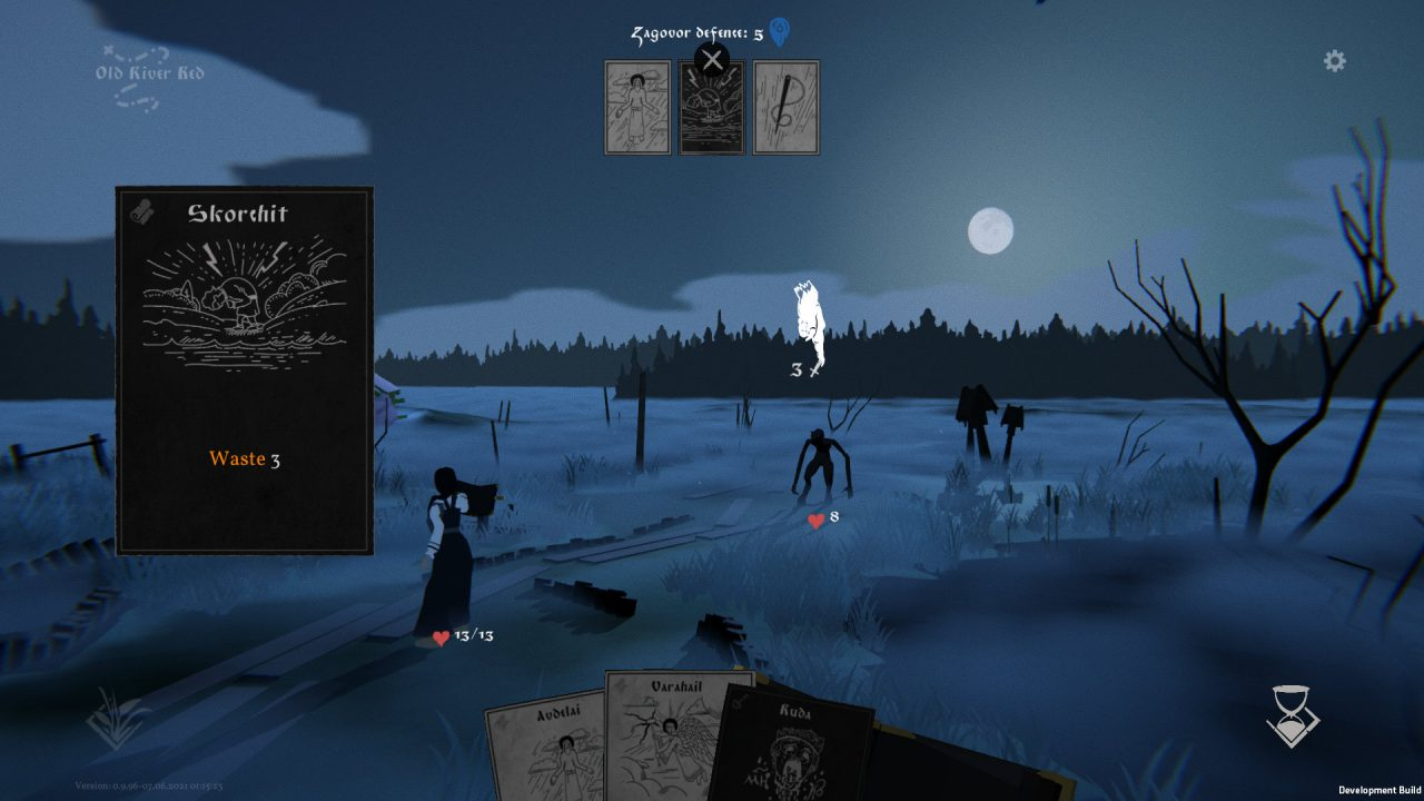 Black Book screenshot of the main character making use of cards in combat.