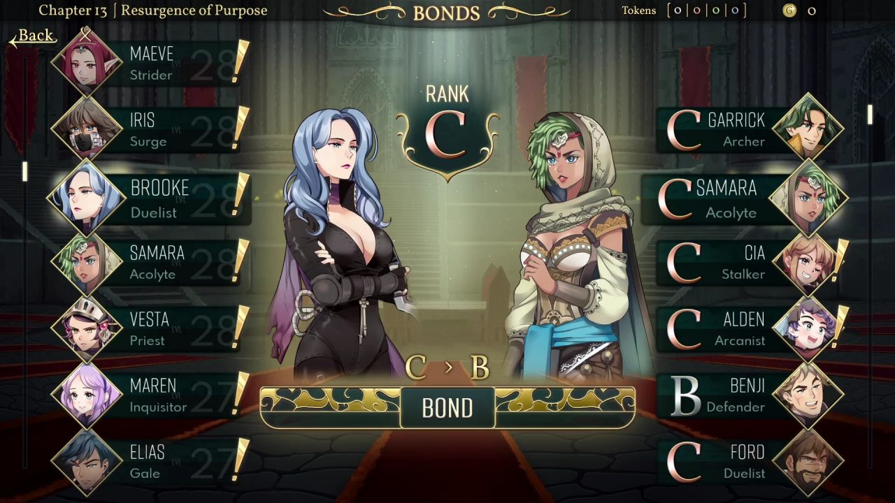 A bonding event has opened up between Brooke (a Duelist) and Samara (an Acolyte).