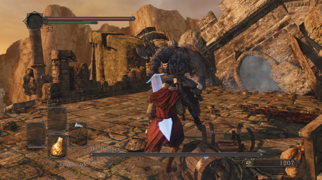 Dark Souls II screenshot of a knight being stabbed by a much larger knight named The Pursuer in the ruins of a castle.