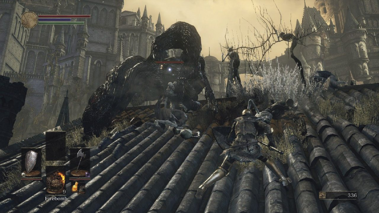 Dark Souls III screenshot of a knight battling a corpse-like humanoid surrounded by writhing black flesh on a gothic rooftop.