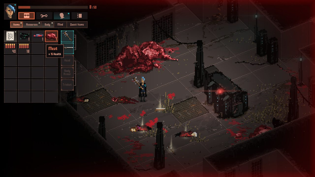 The player's character stands in a room of dead people and meat in Death Trash.