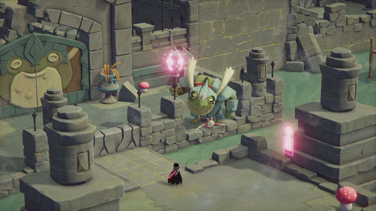 Death's Door screenshot of Crow and large frog in armor staring at each other in ruins.