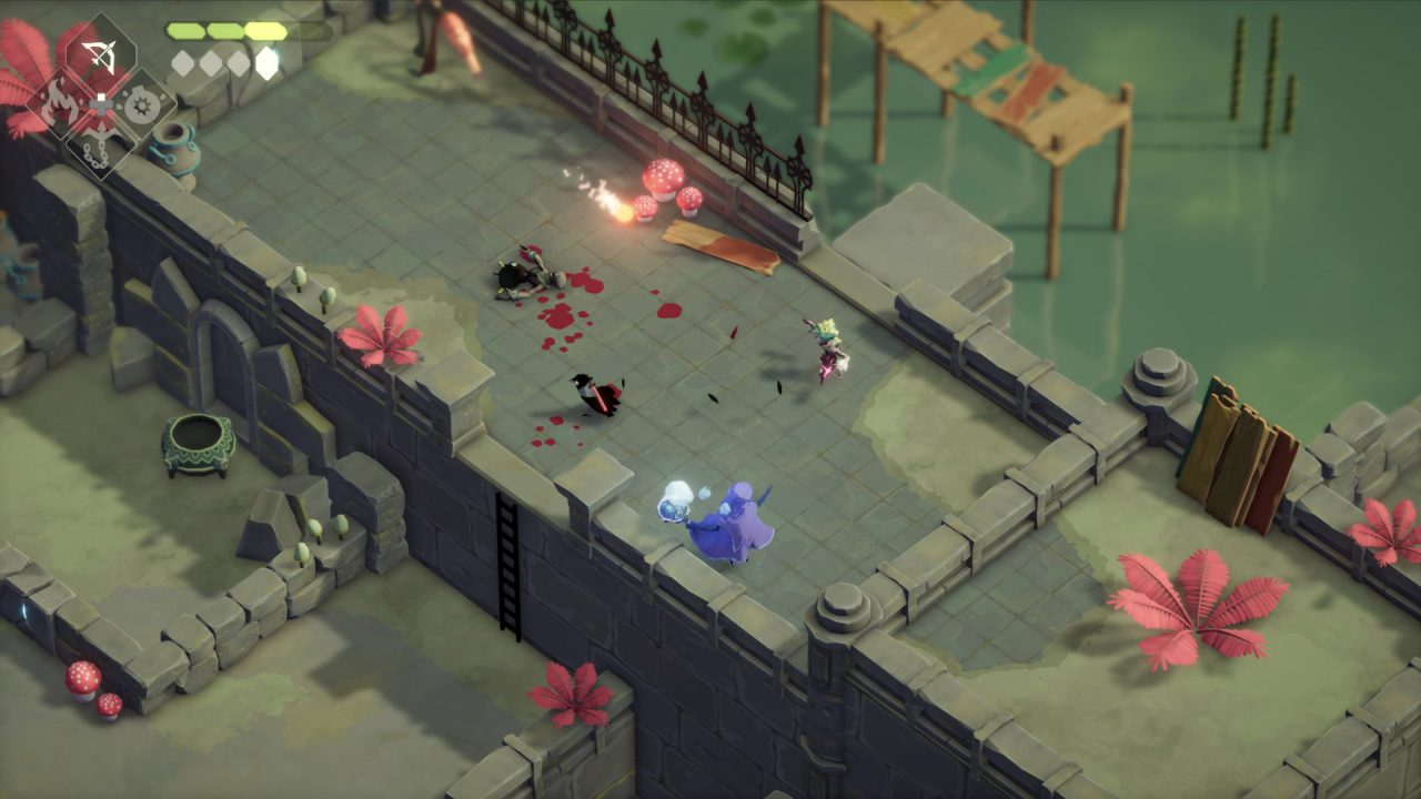 Death's Door screenshot of Crow in ruins fighting enemies with blood on the ground.