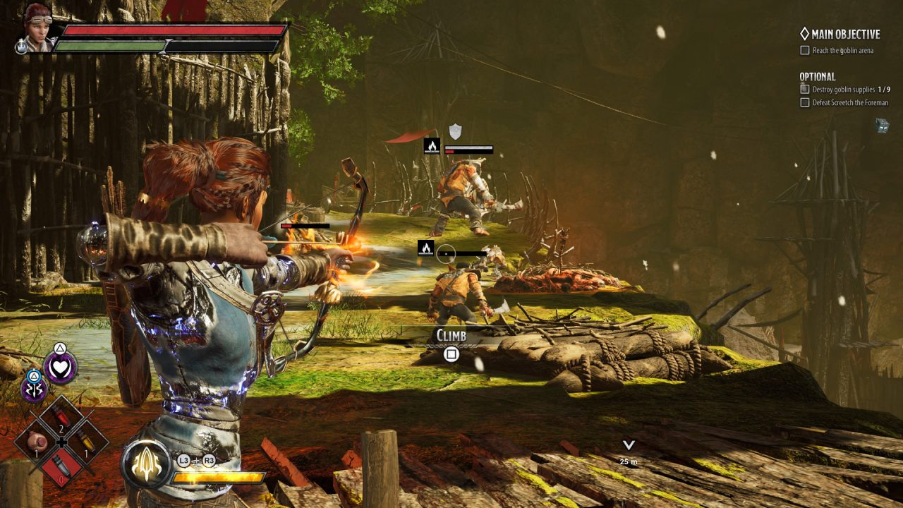 Catti-Brie shooting arrows at enemies who do not react in Dark Alliance.