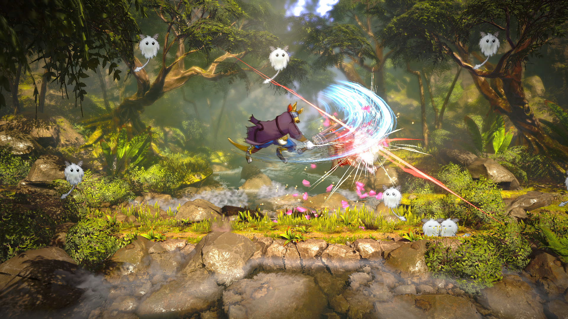 A screenshot of Eiyuden Chronicle: Rising, where a beast-man is attacking a monster with a large sword.