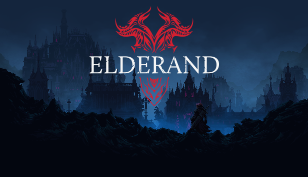 Elderand logo over a dark and foggy land littered with gothic castles.