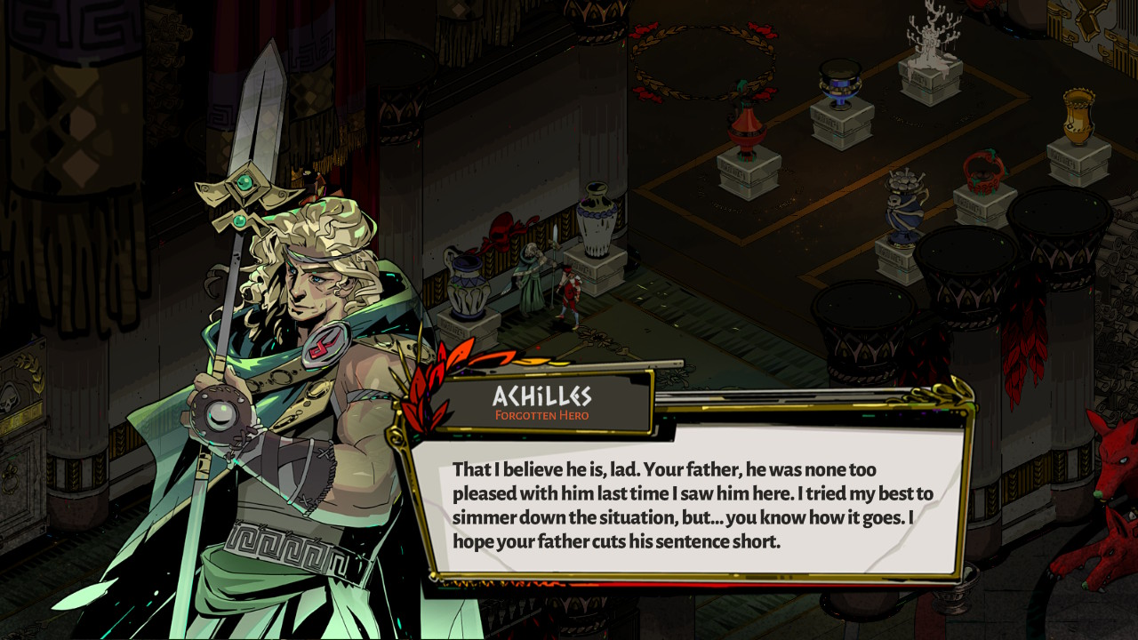 Hades screenshot of Zagreus talking to Achilles in the House of Hades.