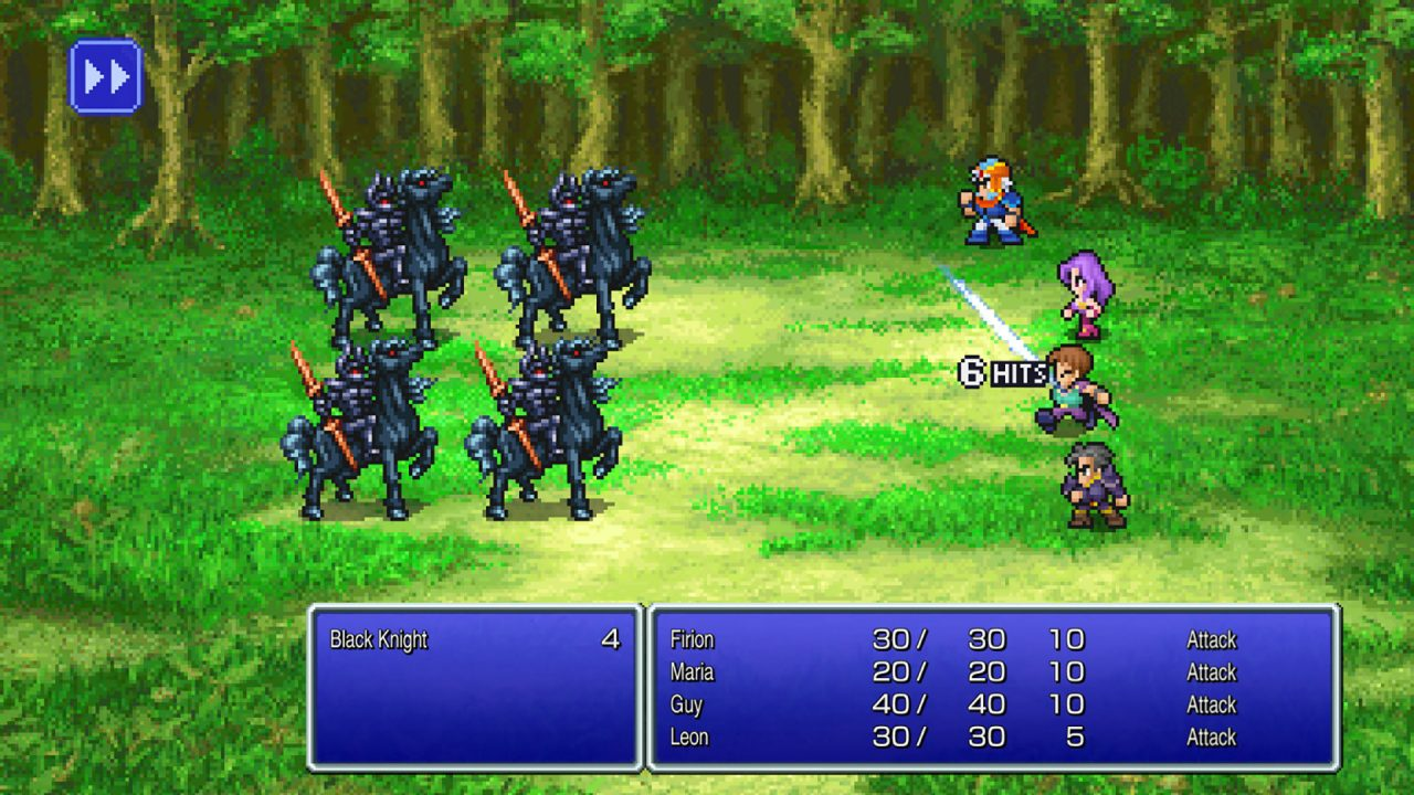 Screenshot From Final Fantasy II Pixel Remaster: the party in battle, with Guy attacking himself with a sword.