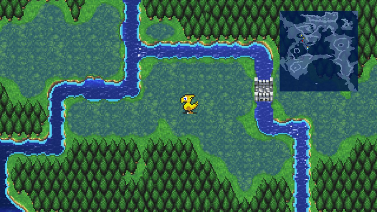 Screenshot From Final Fantasy II Pixel Remaster: Marshy Grasslands with a river and Chocobo in the forest.