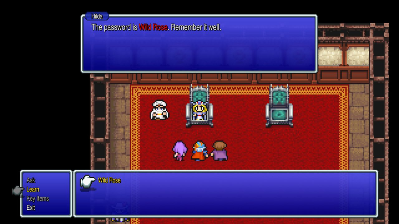 Screenshot From Final Fantasy II Pixel Remaster: Hilda shares the password in dialogue with the party using the learn skill to remember it.