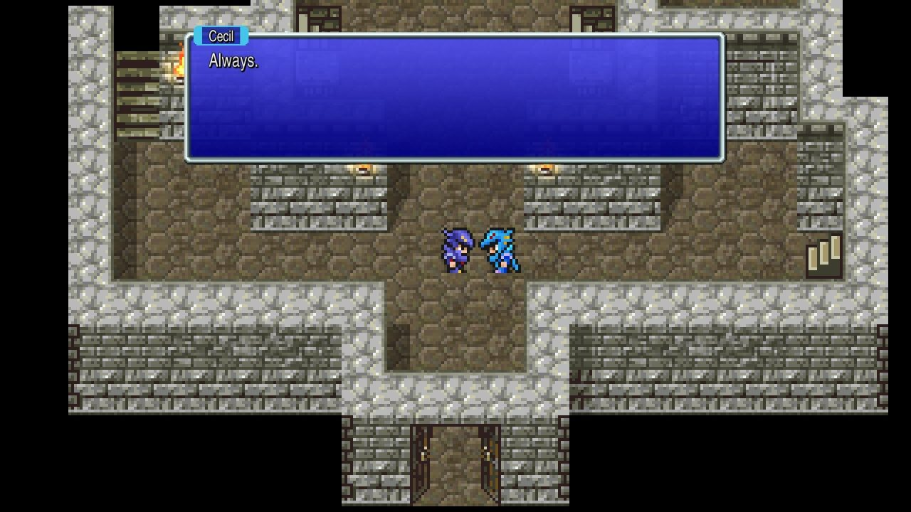 Final Fantasy IV Pixel Remaster screen where Cecil Harvey and Kain Highwind are exchanging words, Kain is a Dragoon and Cecil is a Dark Knight. They stand in a castle room with grey stones surrouding them.