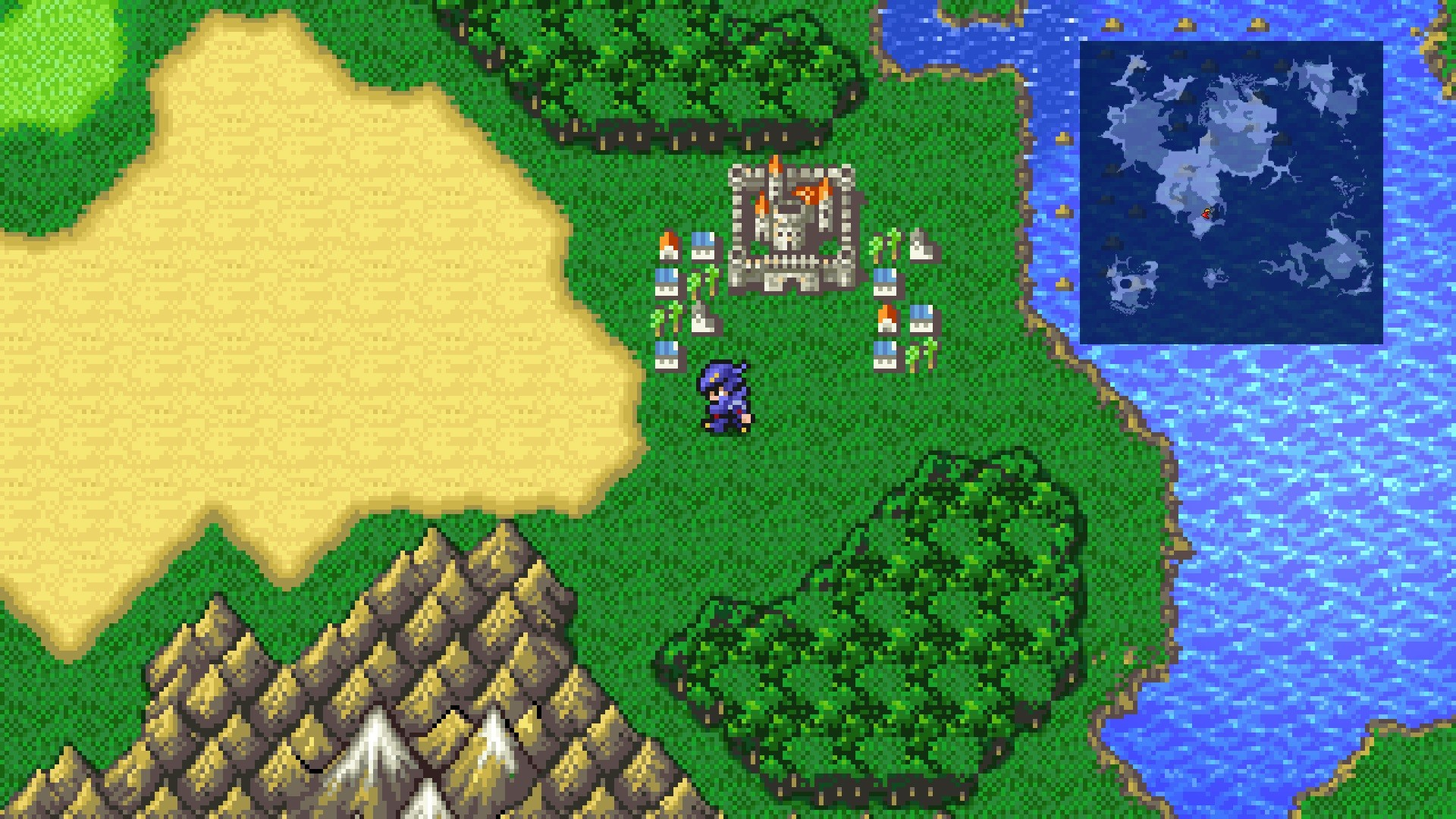 Cecil exploring the world in Final Fantasy IV Pixel Remaster