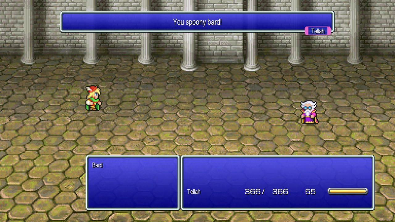 Tellah battling Edward in Final Fantasy IV Pixel Remaster.