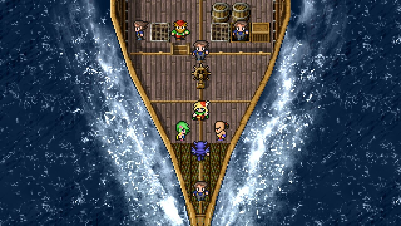 The party crossing the sea by boat in Final Fantasy IV Pixel Remaster.