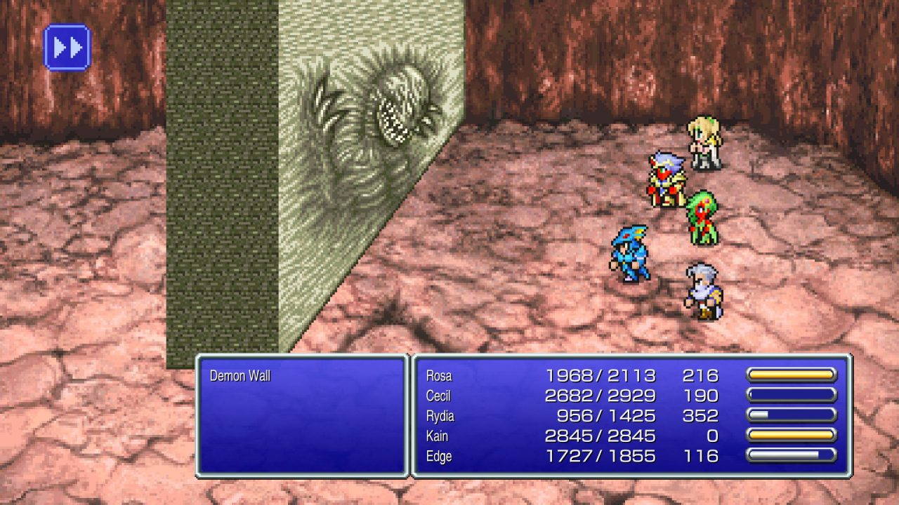 The party battling a boss in Final Fantasy IV Pixel Remaster.