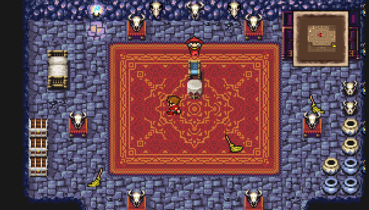 A screenshot of Firion in a room in Final Fantasy II Pixel Remaster