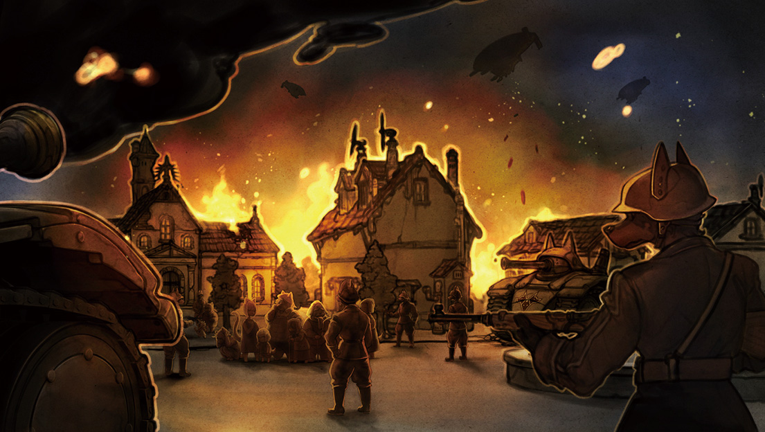 A screenshot from Fuga: Melodies of Steel depicting a group of canine soldiers, that look like bloodhounds, rounding up anthropomorphic dog villagers amidst a blazing town. The image looks like a watercolour and red fire lights the background.