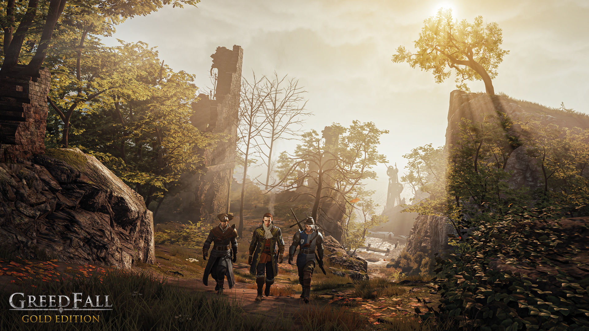 GreedFall Screenshot walking toward the viewer in a dusty forest dotted with ruined buildings.
