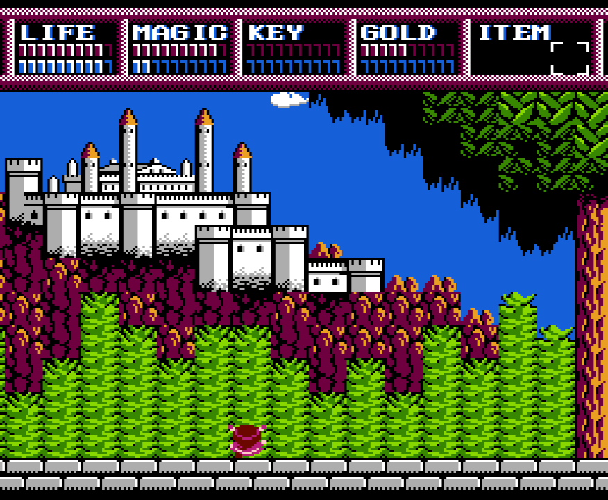 Legacy of the Wizard Screenshot of daughter Lyll looking up at a sprawling castle on a mountain in the distance.