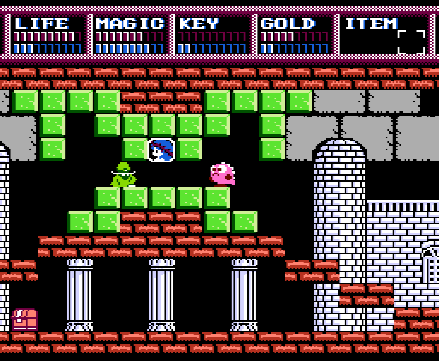 Legacy of the Wizard Screenshot of the family's pet dragon Pochi in an underground city with a portrait of a princess engraved in the wall.