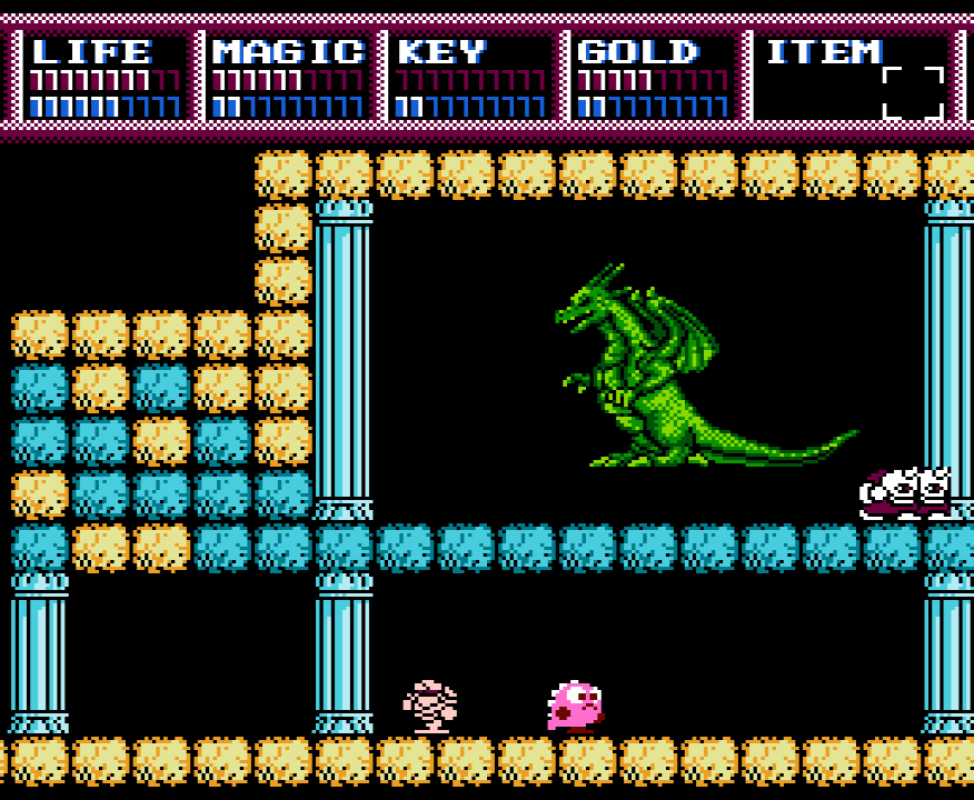 Legacy of the Wizard Screenshot of family pet dragon Pochi near the holding area of adult dragon Keela.