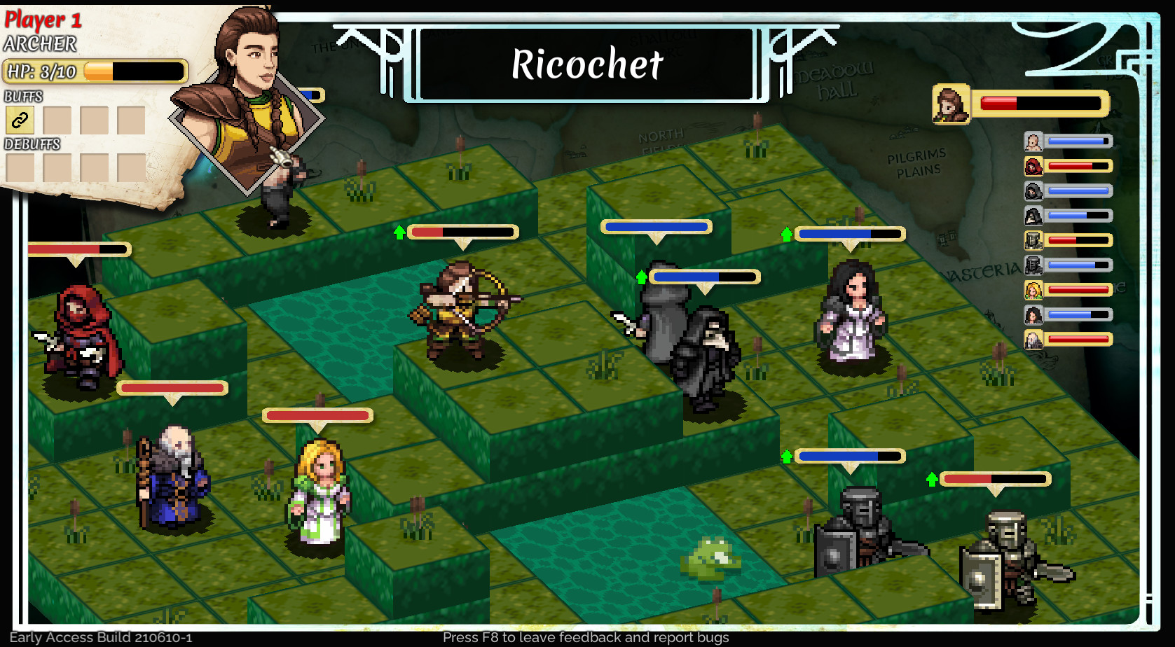 Isometric combat unfolds in Live by the Sword: Tactics. The characters are fighting in the middle of a grassy field, with two pools of water in the center.