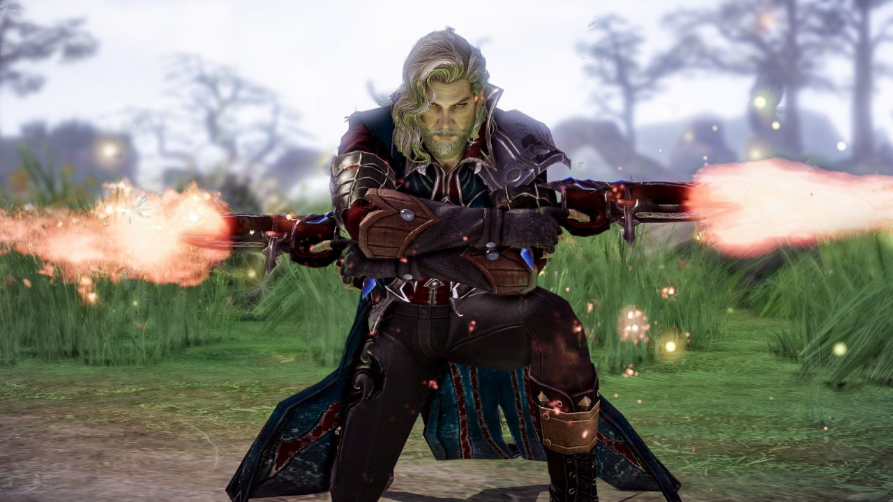 A screenshot of a gunner class in the MMORPG Lost Ark. The gunner holds two guns and is crouching on the floor. He has long blonde hair and blonde facial hair to match.