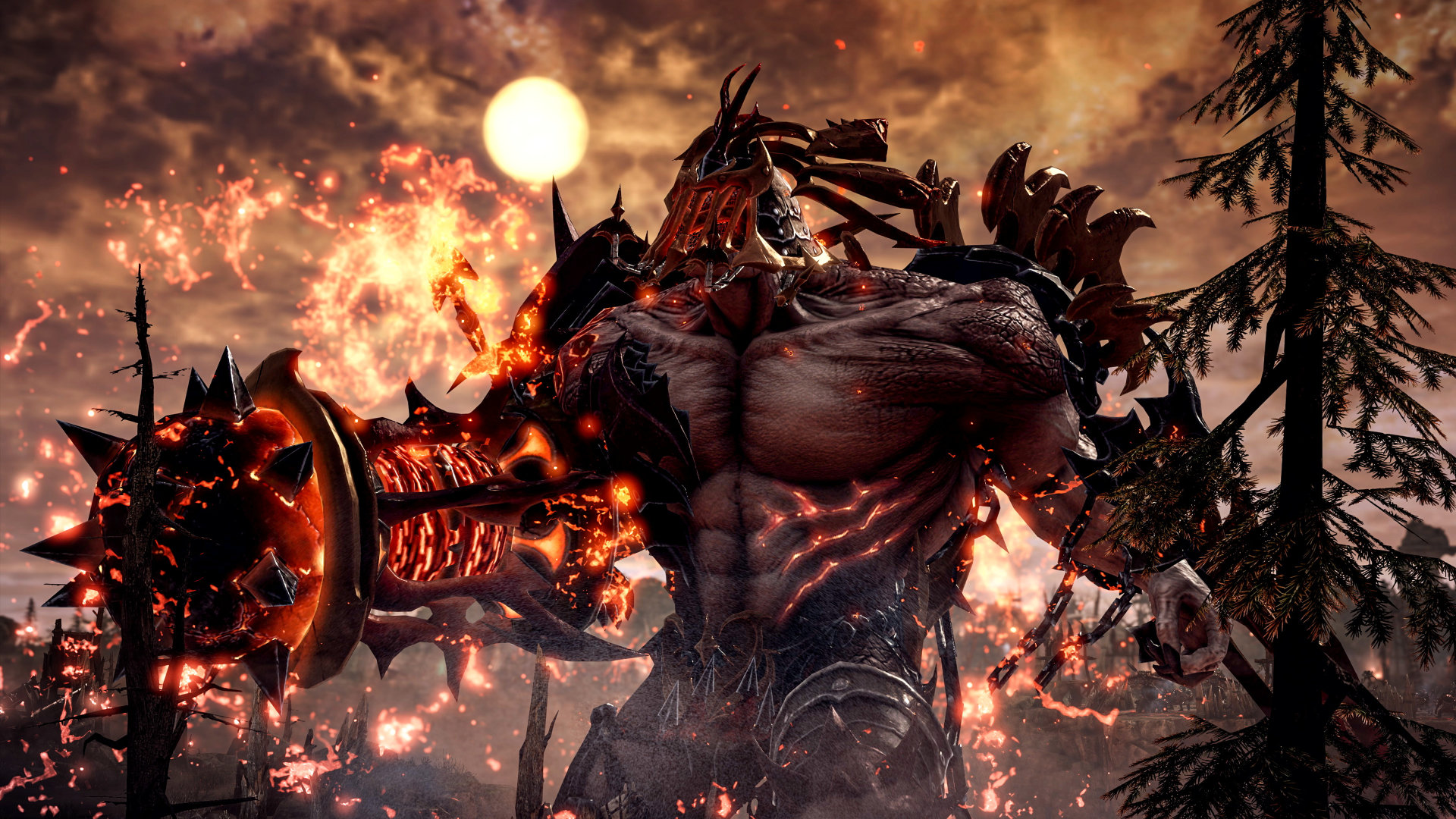 A screenshot of a large demonic creature with pale skin in the MMORPG Lost Ark. It is standing infront of a flame-lit sky with the moon glowing brightly in the background.