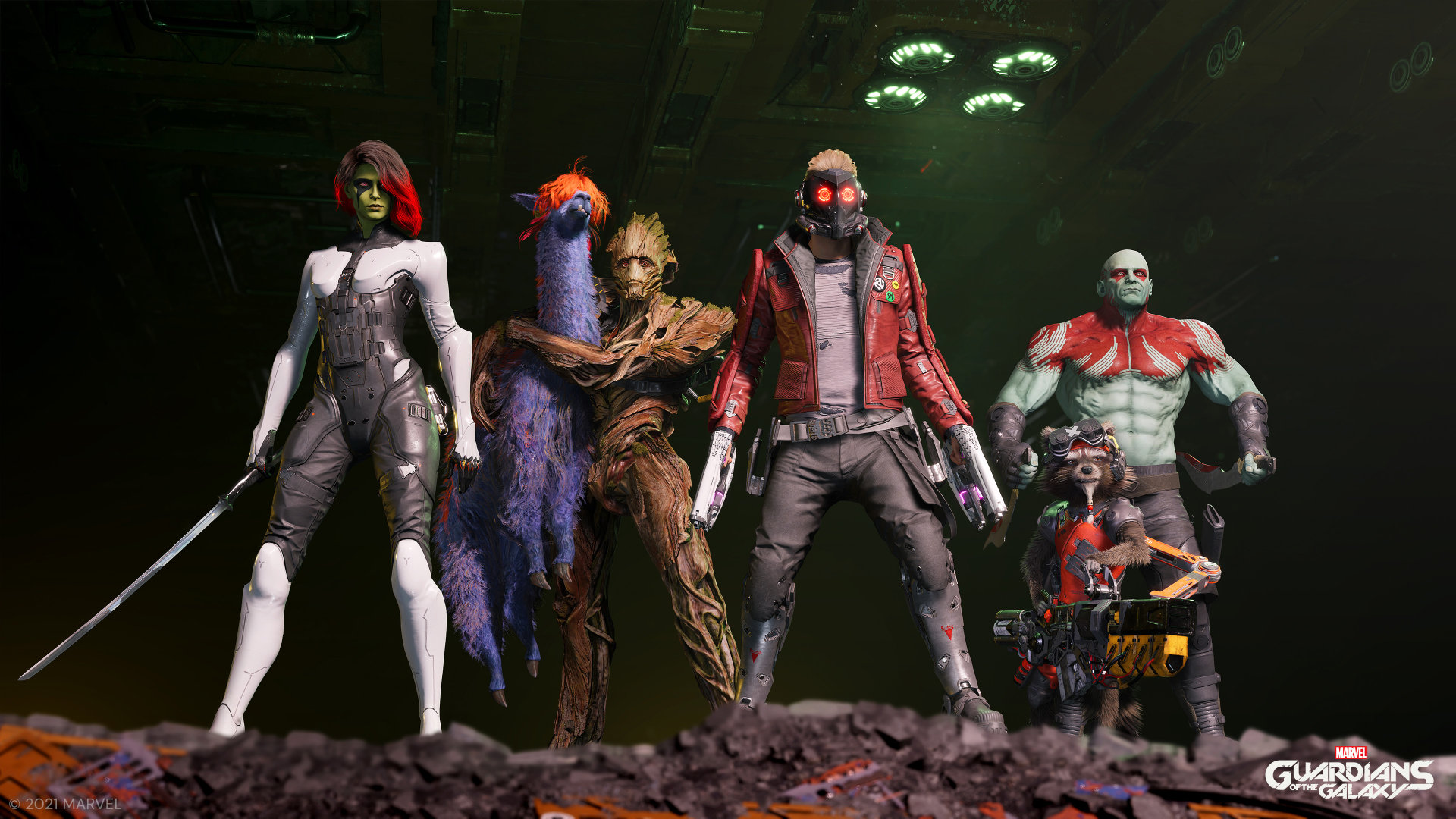 Marvel's Guardians of the Galaxy Screenshot of the cast standing together.