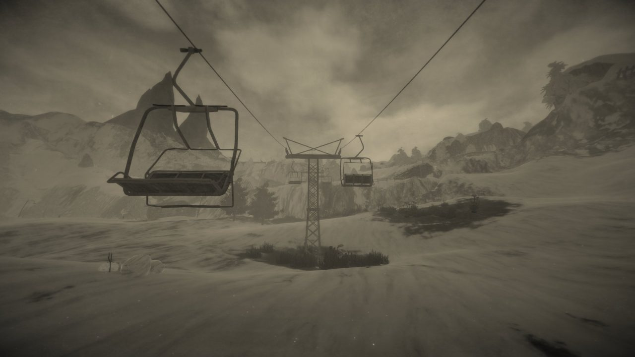 Mundaun sepia screenshot of a mountain lift, viewed in first person.
