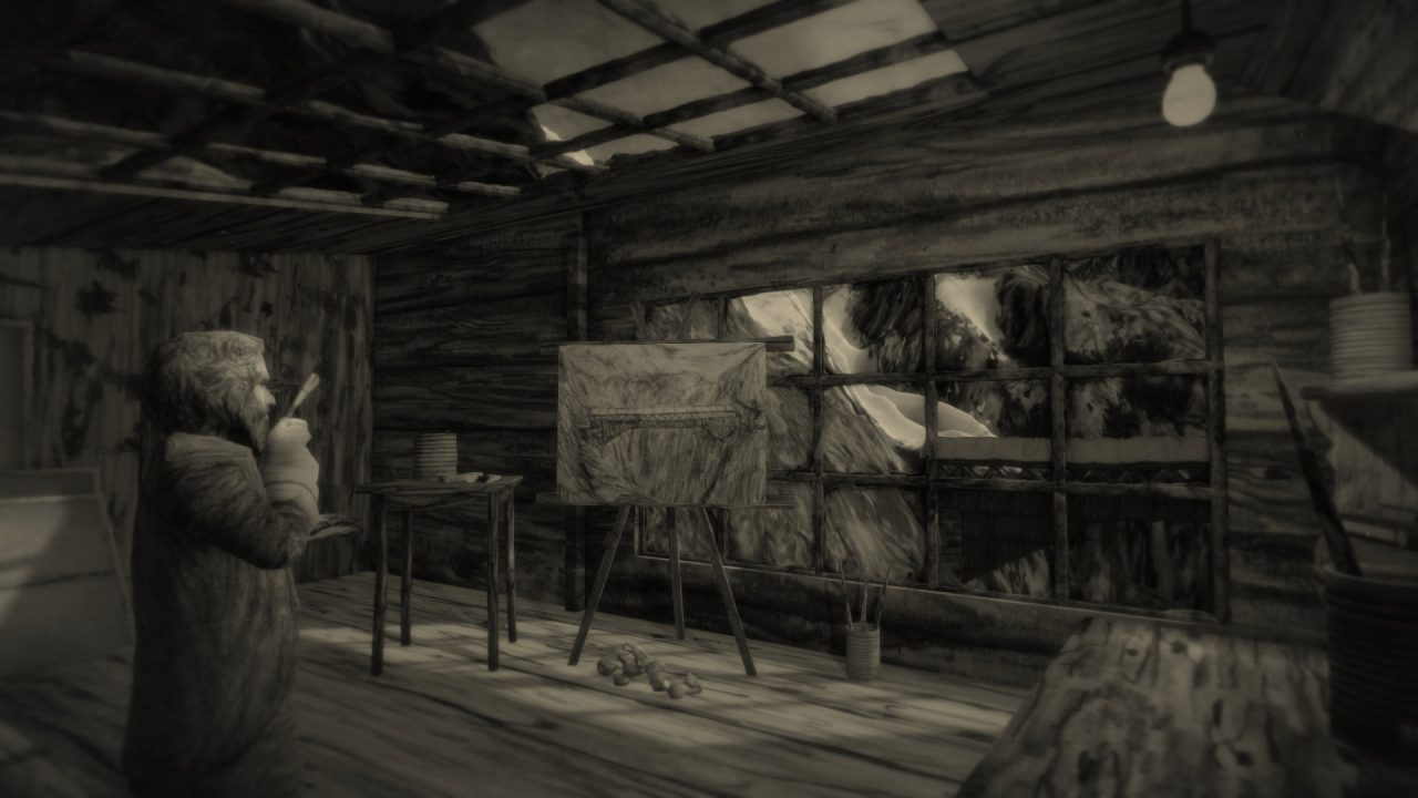 Mundaun screenshot of a bearded man considering a painting of a mountainside bridge.