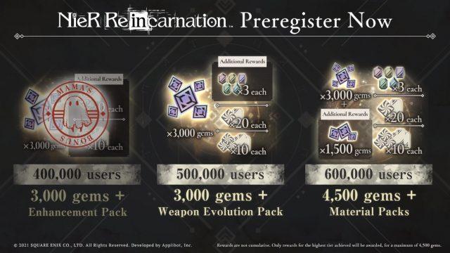 NieR: Re[in]carnation Pre-registration Rewards