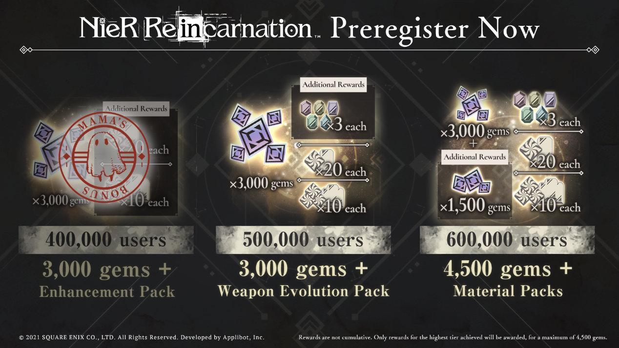 NieR Reincarnation Pre-registration Rewards