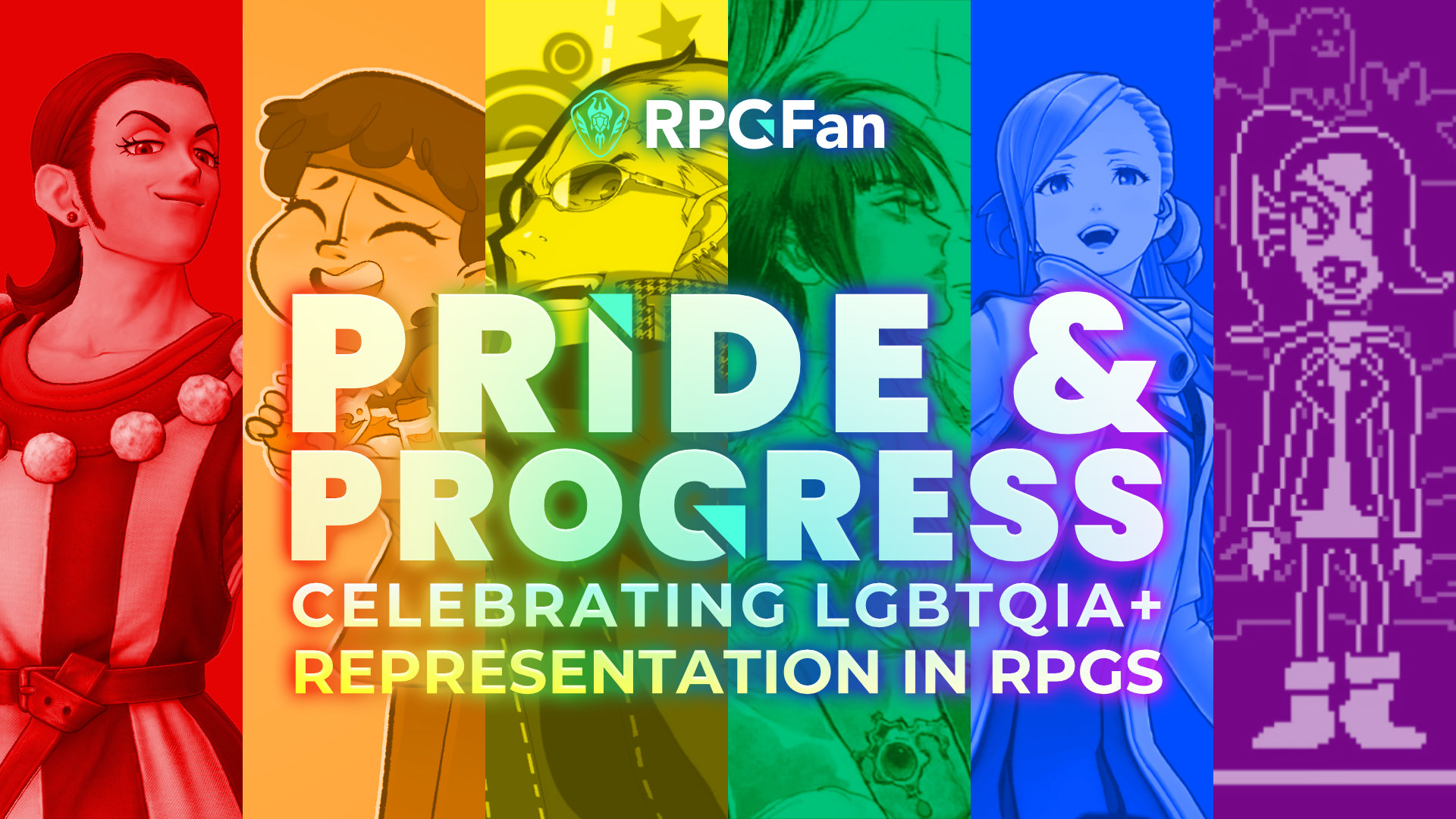 Pride & Progress: Celebrating LGBTQIA+ Representation in RPGs graphic featuring six characters on a rainbow background.
