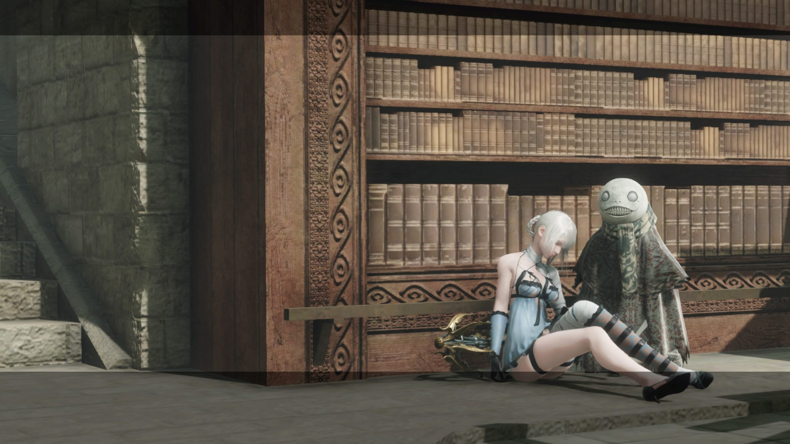 Kaine and Emil sitting next to a bookcase in The Library in NieR Replicant