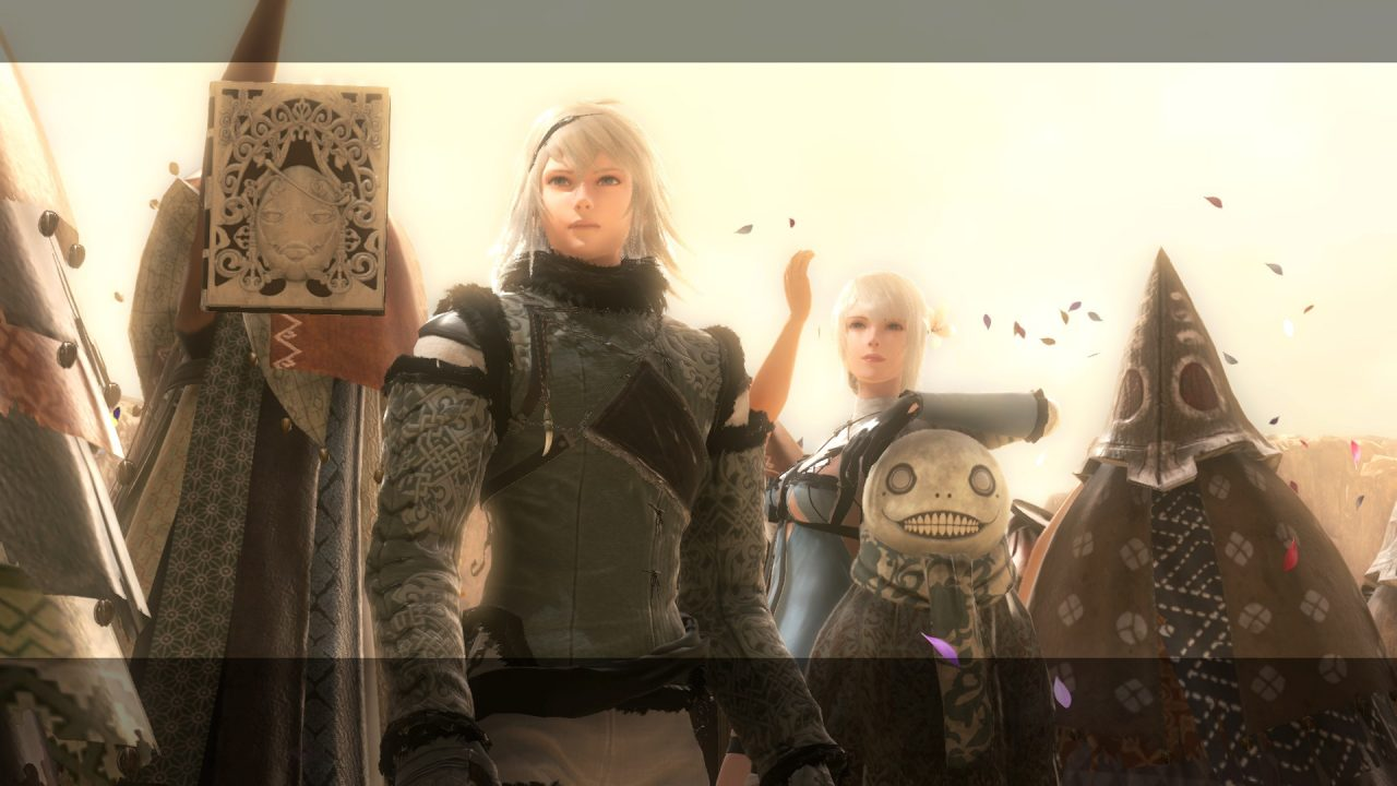 Nier, Kaine, Emil, and Grimoire Weiss stand and watch the King of Facade and Fyra get married in NieR Replicant