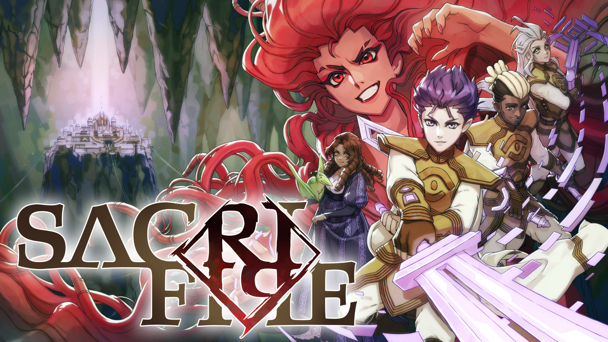 SacriFire Artwork of a diverse cast of characters including a boy with a glowing purple sword and a girl with a pet baby pterodactyl.
