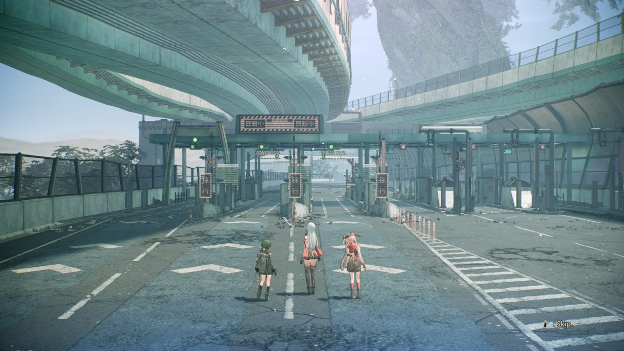 Scarlet Nexus screenshot of three people looking out on a derelict, multi-level highway system. A large, twisting tree is visible in the background.