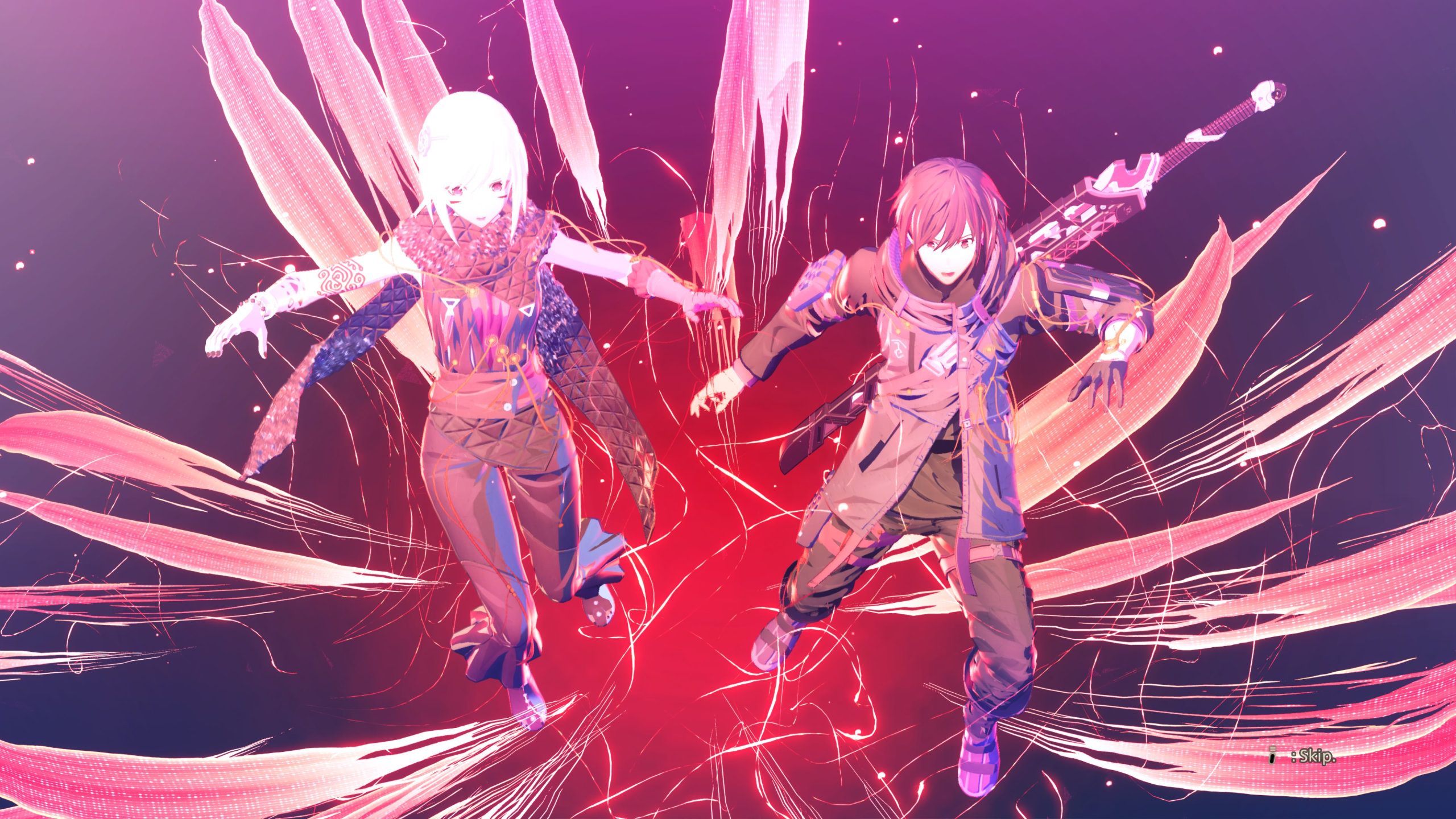 Scarlet Nexus screenshot of a young woman and a young man, surrounded by red strands, falling into a red void.