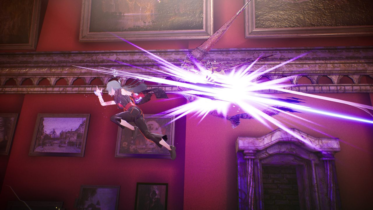 Scarlet Nexus screenshot of a woman dashing in mid-air past an Other, slashing it apart as she does.
