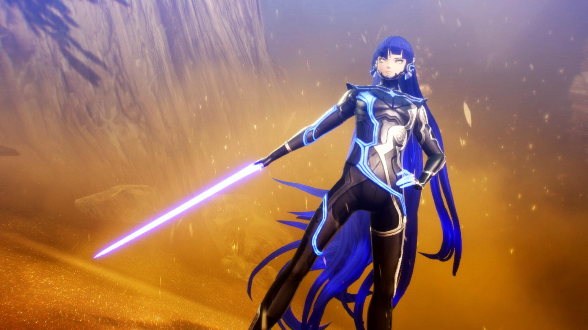 Shin Megami Tensei V screenshot of Nahobino brandishing a laser sword in a dusty wasteland.