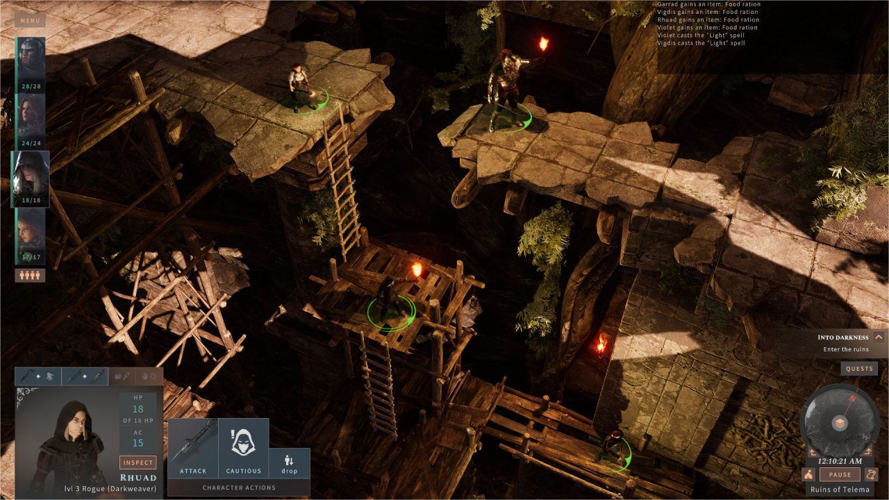 Characters stand on different levels in a ruin in Solasta: Crown of the Magister.
